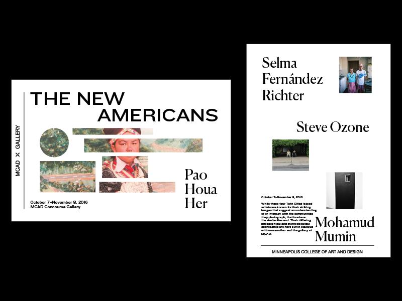 New Americans Postcard exhibition typography type print design print