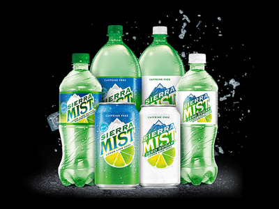 Sierra Mist type logo design soda can graphic design