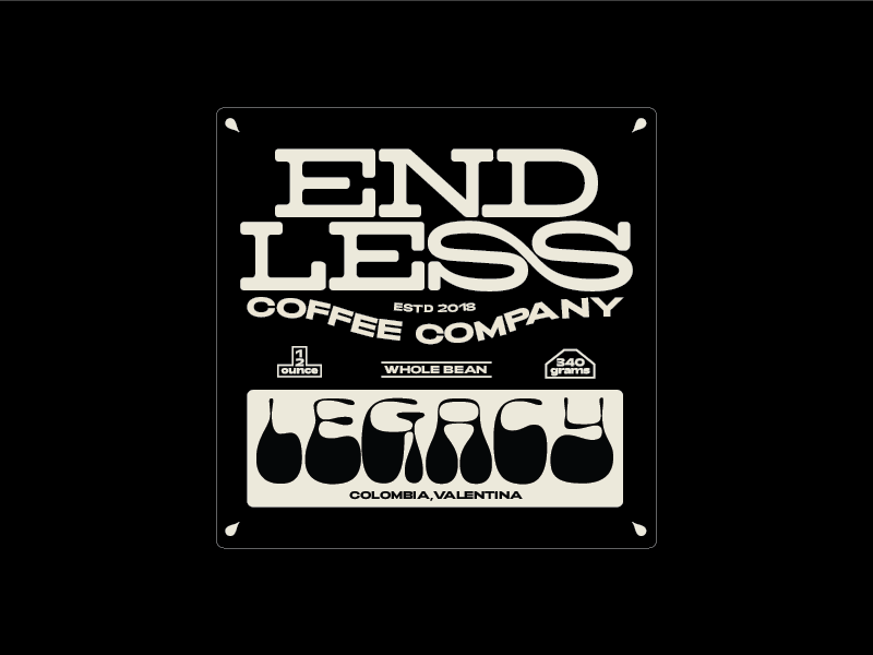 Endless Coffee co Batch #1 logo type typography print graphic design design coffee bag coffee