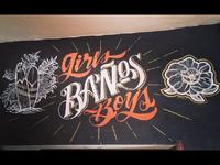 """Lettering """"Baños"""" - Beer Bar Wall"""