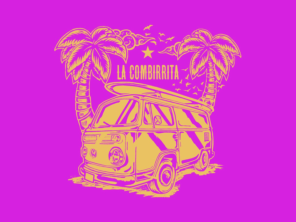"Ilustration ""La Combirrita"" combi beach color branding graphic draw illustration logo vector design"