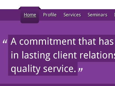 Header with quote purple header web web site website