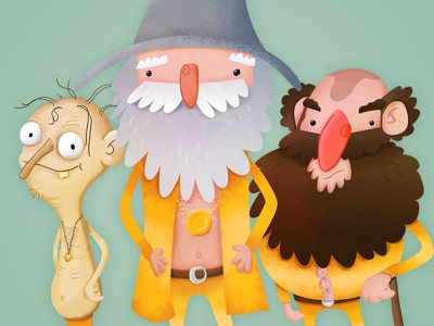 Three Gees - Jive Tolkien lord of the rings illustration tolkien gollum gandalf gimli funny cartoon