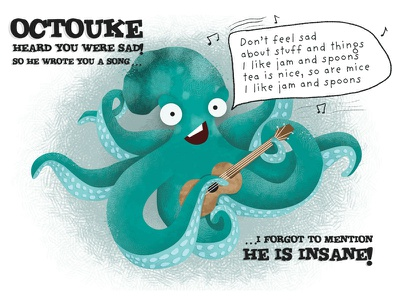 Octouke octopus ukulele silly illustration insane funny sad