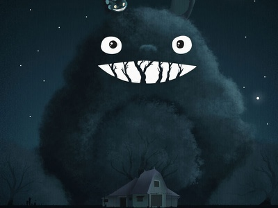 My Neighbour Totoro - Redux my neighbour totoro ghibli illustration dark
