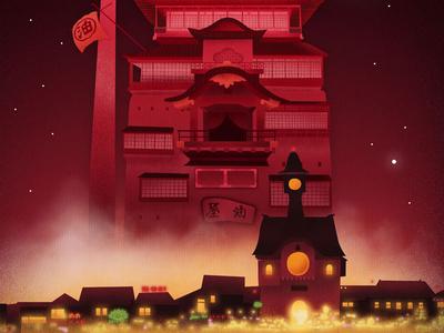 Spirited Away spirited away ghibli poster illustration