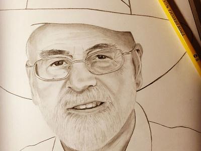 Terry Pratchett pencil drawing discworld terry pratchett