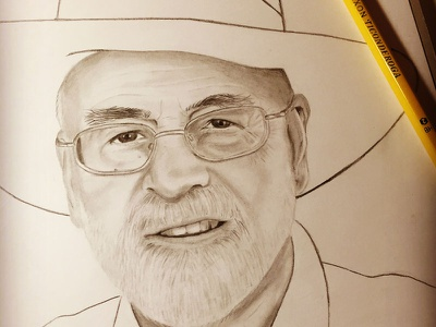Terry Pratchett pencil drawing discworld terry pratchett