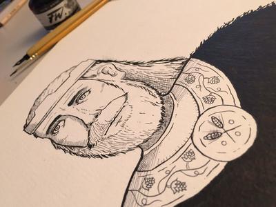Foyle illustration ink brush pen beer