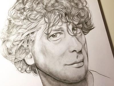 Neil Gaiman graphite crazy hair pencil drawing sandman neil gaiman