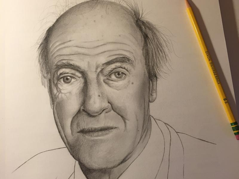Roald Dahl graphite pencil drawing roald dahl authors