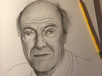 Roald Dahl graphite pencil drawing roald dahl authors