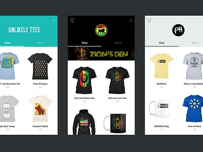 Storefront Branding store teespring ecommerce ux ui theme branding responsive mobile web