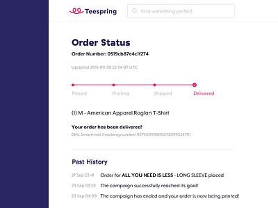 Order Status delivery mobile responsive orders teespring ux ui status progress order tracker