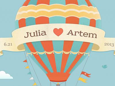 Love is in the air wedding illustration love cute air balloon web ribbon clouds hot air balloon