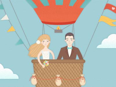 Bride and Groom wedding illustration love cute air balloon web couple clouds hot air balloon