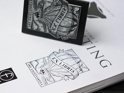 Ex Libris bookplate hot air balloon ex libris stamp engrave