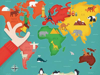World Map map illustration animals world