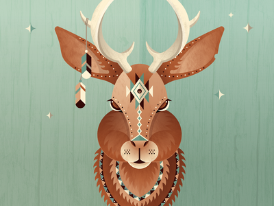 Jackalope jackalope skillshare antlers deer illustration