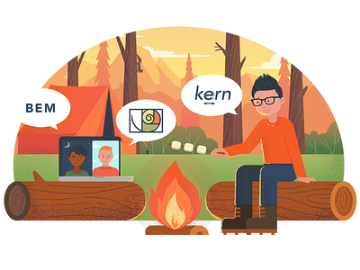Remote Design Team remote campfire camp design illustration