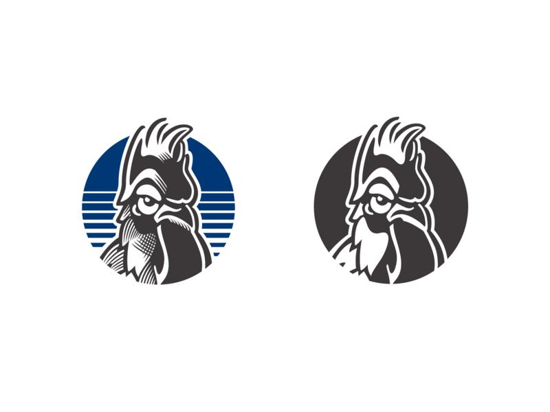 Mad Rooster Illustration outdoors rooster logo illustration adventure branding vector animal negative space mark identity symbol