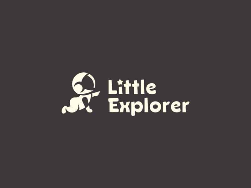Little Explorer explorer baby helmet astronaut toys typography branding design negative space logo mark identity symbol brand logo design