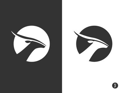 Antelope - Negative space logo design bw antilope negative space