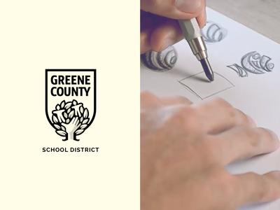 GC School District students school shield tree illustration identity symbol mark brand logo design