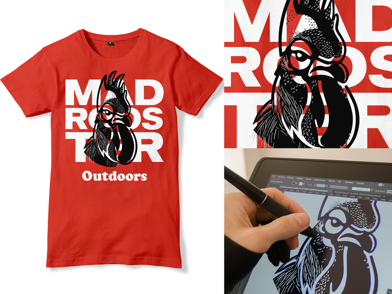 Mad Rooster Outdoors adventure outdoors rooster tshirtdesign tshirt design tshirt art tshirts tshirt typography illustration design exercises animal identity brand symbol