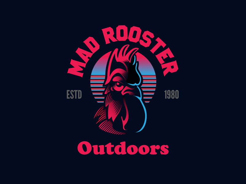 Mad Rooster Outdoors animal illustration poster design retro design 80s style rooster typography illustration vector design design exercises symbol