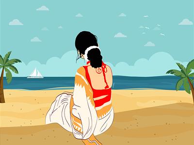 Beach View girl beach vector design art illustration