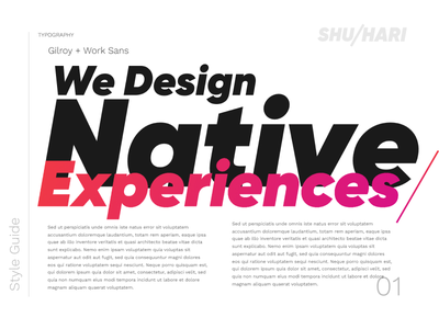 Shuhari Typography design guide style guide type gradient bold gilroy work sans typography