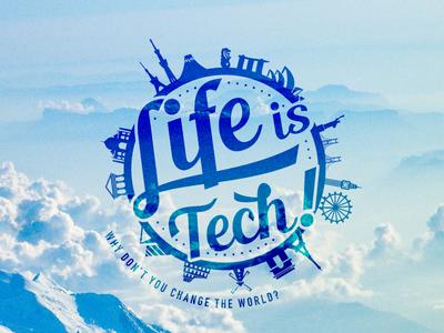Life is Tech ! Global Logo illustrator world global landmark silhouette blue logo