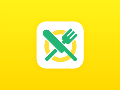 Flat Food Icon pictogram green yellow fork knife food icon