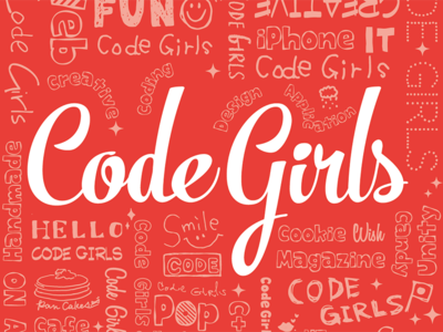 Code Girls red girl handwritten typography logo