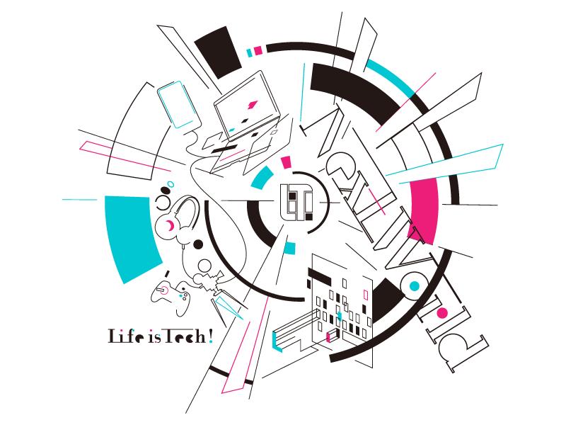 Life is Tech ! Next World (white) logo camp lifeistech