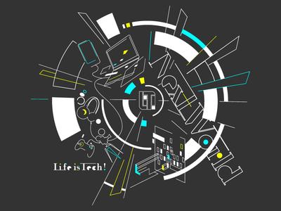 Life is Tech ! Next World (black) logo camp lifeistech