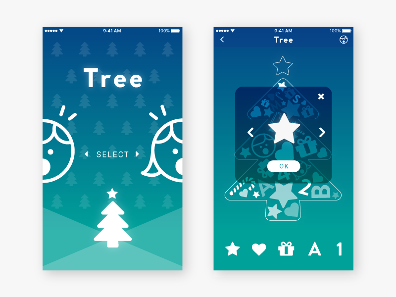 Tree App UI Design appboxawards2016 xmas xd illustrator ui