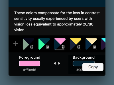 Colorific Copy Context Menu interaction design design tool desktop app interaction design tool utility macos app ux ui