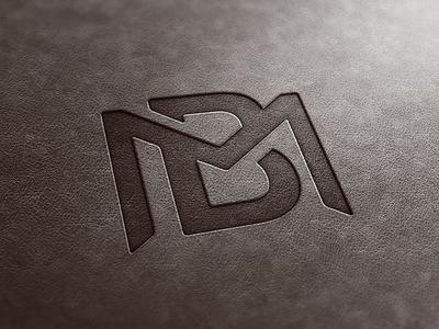 BM Monogram Leather Look mb simple m b letters merge modern leather monogram logo bm