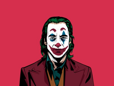 The Joker clown portrait movies red joaquin phoenix batman dc fanart the joker