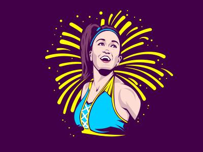 Let's hug it out! bayley sports portrait illustration wwe wrestling