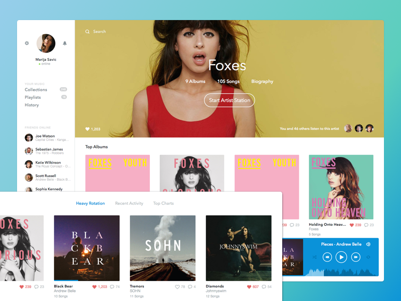 Rdio Redesign redesign interface ui ux app music color sketch