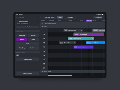 Reservation Grid for Host iOS App interface ui ipad app timeline grid ios