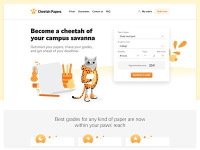 Landing page design university education study essay student web xd landing page