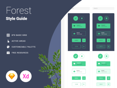 Forest - Style Guide sketch xd brand style sheet specific document guide manual style guides