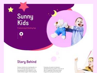 Sunny Kids 🌙 web landing page kids freelancing booking app