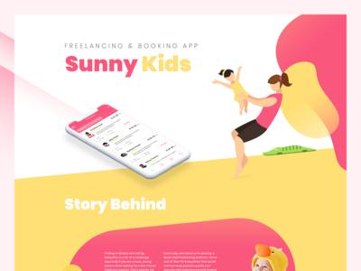 Sunny Kids 🍬 web landing page kids freelancing booking app
