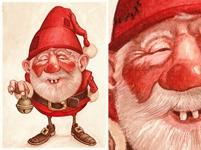Watercolor Hand-painting Gnome - Free download