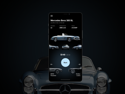 Vintage car rental minimalism clean design concept dark theme dark app app design classic car cars vintage iphone uiux ui app